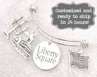 Liberty Square Engraved - DISNEY Inspired, Walt Disney World Disneyland, Haunted Mansion Custom Name Charm Bracelet, Adjustable Bangle