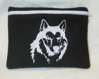 Siberian Husky I Embroidered Zipper Pouch