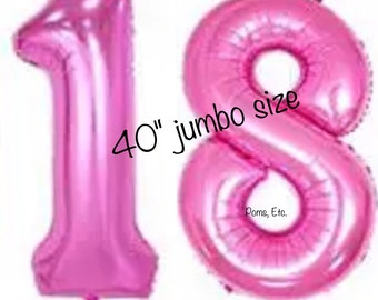 "18 pink 40"" number Balloon jumbo / foil balloon/ number balloons/ Pink / 40 inch"