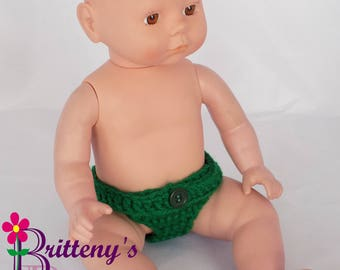 Baby Doll Clothes Crochet Baby Doll Diaper Set Crochet Baby Green Doll Diapers Baby Doll Clothing Four Doll Diapers 13-14 inch Size