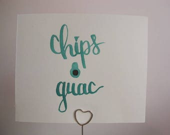 "Wall Art Decor ""Chips & Guac"" - Dorm Decor - Bedroom Decor - Cheap Gifts For Her Mom Sister Friend Aunt - Watercolor Brush Lettering"
