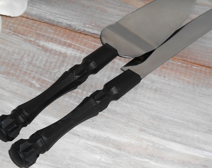 Black Wedding Cake Server And Knife Set, Bridal Shower Gift, Wedding Gift Fall Decor Thanksgiving Holiday Cake Cutter
