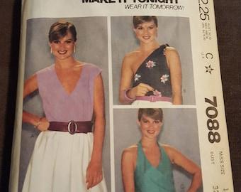 Vintage Pattern, CUT, Top, McCall's 7088, Size 10, Vintage Fashion, 80s Fashion