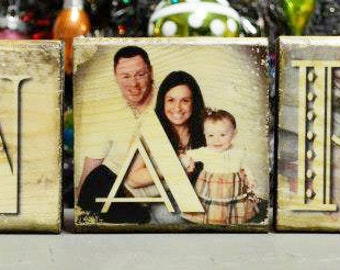 5 photo blocks - Images transferred to wood NOT GLUED