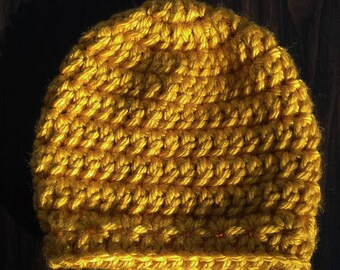 Chunky Crochet Star-stitch Border Hat - Gold