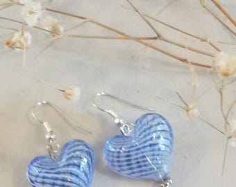 Handblown hollow glass beaded earrings with silver plated accents