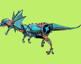 Dilophosaurus Robosaur art print 5x7