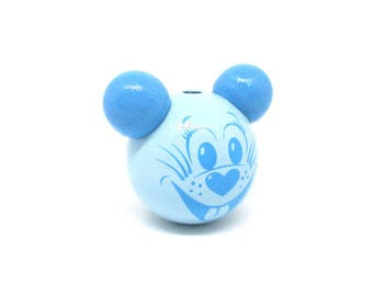 Wooden 3D soft blue mouse head bead