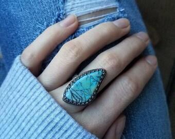Sterling Opal freeform silver ring | sz 7.5