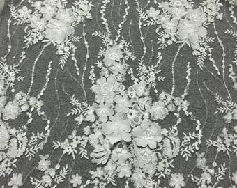 Vintage wedding dress fabric guipure lace fabric 3d lace fabric tulle bridal lace alencon lace fabric 130cm width organza lace fabric