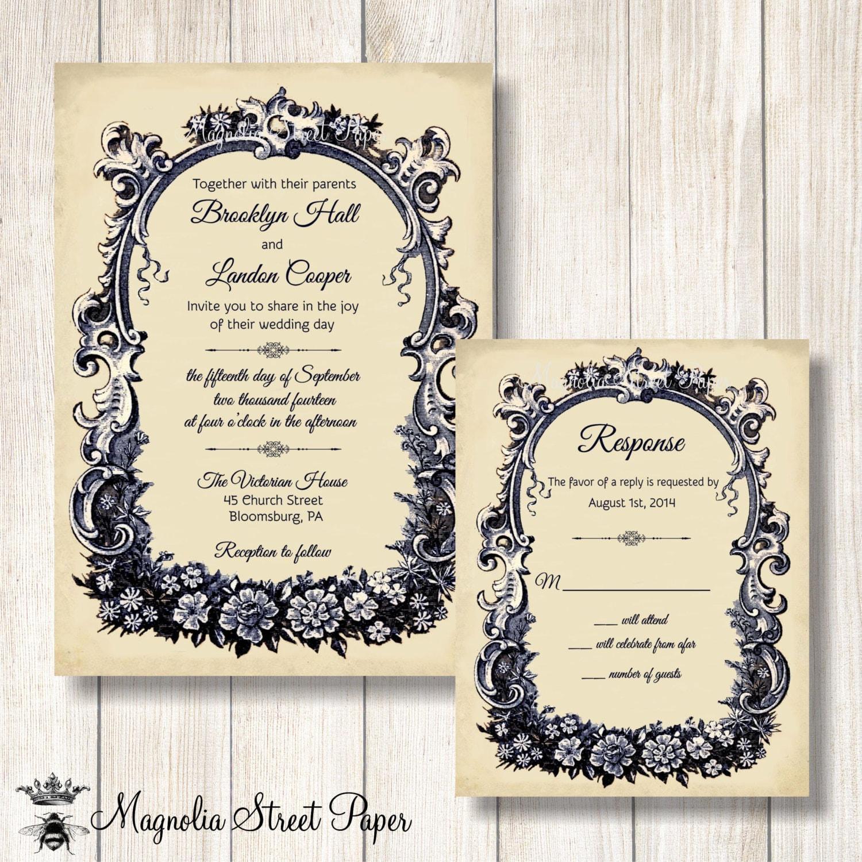 French Wedding Invitation Vintage French Wedding Invite