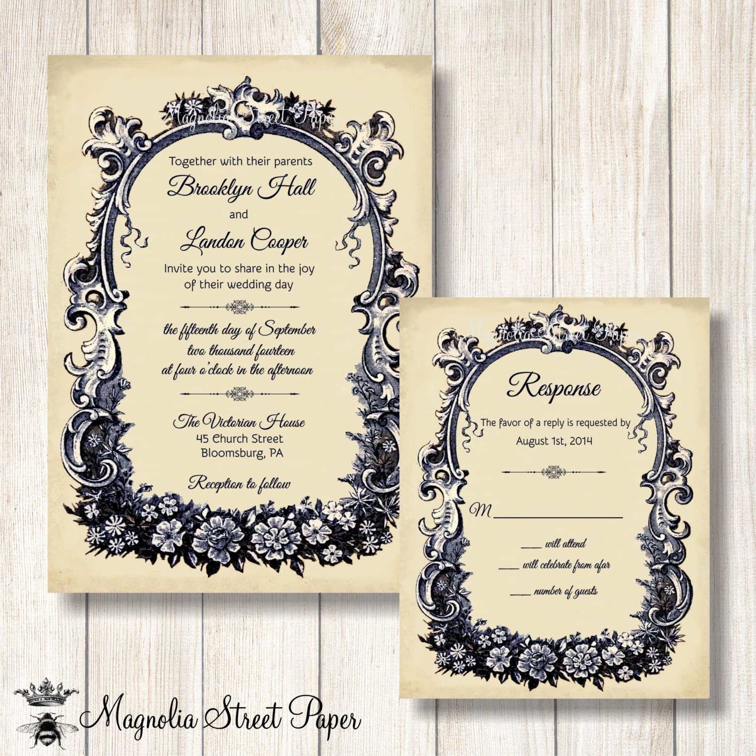 French Wedding Invitation Vintage French Wedding Invite