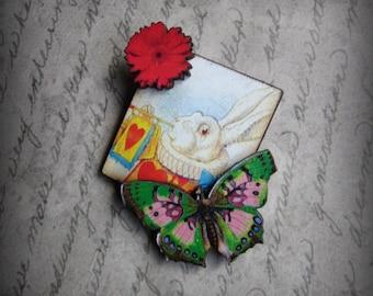 Alice in Wonderland Art Brooch