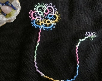 Tatted Lace Flower Bookmark, Tatting, Handmade