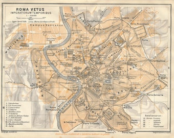 1909 Ancient Rome Italy Antique Map