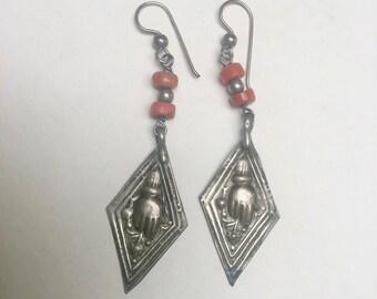 vintage boho hand earrings