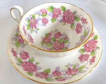 Vintage Royal Grafton Pink Floral Bone China Tea Cup and Saucer