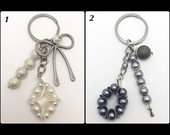 Keychain with beads and Satin