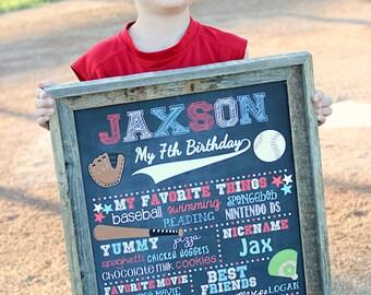 SALE Baseball Birthday Chalkboard Poster, Any Birthday, Digital,  Milestone Poster