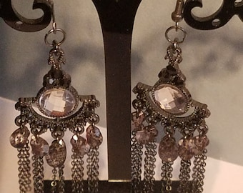 Gunmetal Gemstone Chandelier Earring