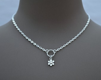 """DAISY FLOWER O RING Necklace, Silver Plated Cable Chain, Handmade, 16"""" 18"""" 20"""" Sizes"""