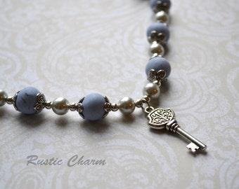 Blue Polymer bead Key Necklace