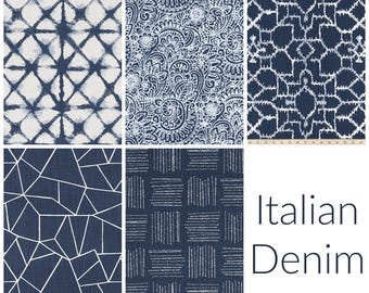 Italian Denim Collection. Navy Drapery Panels. Pair of Two. 63 84 90 96 108 Length. Blue Curtains. Dark Blue. Custom Window Treatments.
