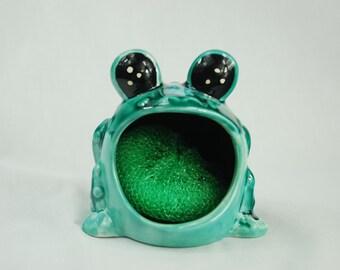 Jade turquoise and blue spotted  big eyed frog sponge holder
