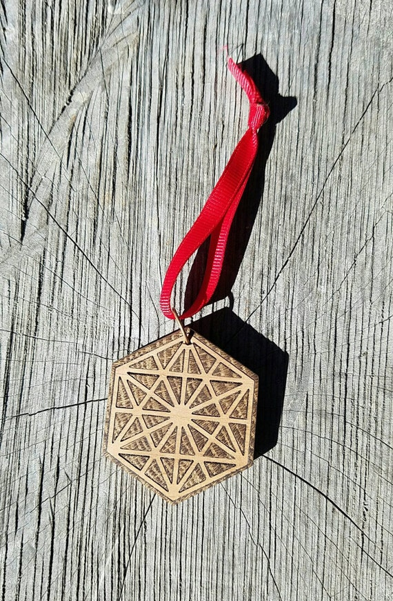 64 Tetrahedron Tree Ornament - Reclaimed Northern California Wood Sacred Geometry Inlay