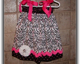 Girls Pillowcase Dress Infant toddler Custom..Damask scroll...sizes 0-6, 6-12, 12-18, 18-24 months, 2T, 3T..Bigger sizes AVAILABLE