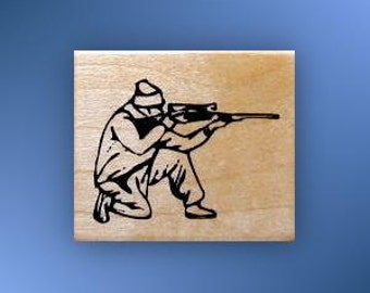 shooting Hunter Kneeling mounted rubber stamp, Father's Day, masculine, deer hunting season, man with rifle, gun, Sweet Grass Stamps No.14