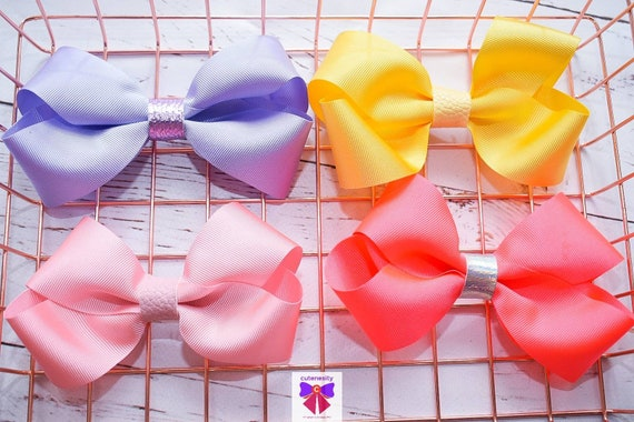 Yellow, Lilac, Neon Pink and Baby Pink Barrettes - Kids / Toddlers / Girl pony tail clips / barrettes / pig tail bows / birthday bow / party