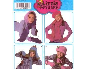 Girls Hats Mitts Scarves Pattern Simplicity 5269 Fleece Hood Beret Cloche Girls Size S M L Accessories Sewing Pattern