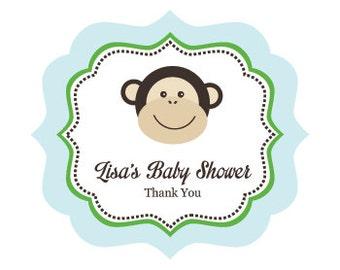 Monkey Birthday Party Decorations Favor Labels - Boy Monkey Baby Shower Favors Stickers - BLUE (EB3020BM) set of 24 favor labels