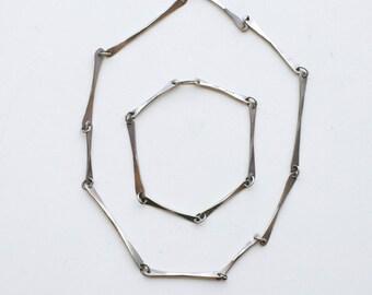 1960s modernist designer Ed Levin sterling necklace and bracelet set / vintage 60s mod silver bone shape link