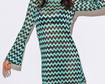 Sheer Chevron Backless Dress