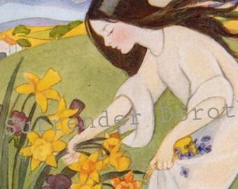Proserpina Olive Allen 1927 Vintage Greek Mythology Lithograph Illustration For Children