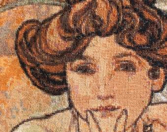 Alphonse Mucha Topaz Completed Cross Stitch Art Decor