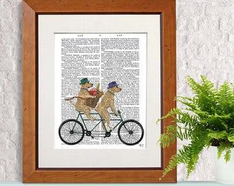 Anniversary gift-  Yellow labrador on tandem - Engagement gift First anniversary Paper anniversary Couple anniversary gift Gift for lovers