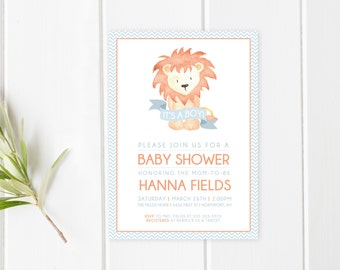 Baby Shower Invitation, Boy Baby Shower Invitation, Baby Shower Invites, Baby Shower, Blue Baby Shower Invitation, Animal Baby Shower Invite