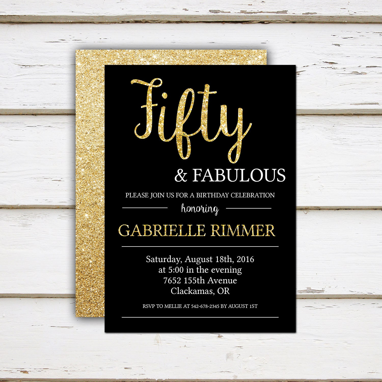 Printable 50th Birthday Invitation, Fifty and Fabulous, Gold Glitter ...