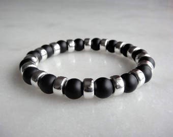 Black onyx and sterling silver beaded bracelet / Mens bracelet womens bracelet onyx bracelet men beaded bracelet saint valentine gift