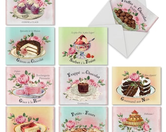 M4213TYG-B1x10 French Treats: 10 Assorted Thank You Greeting Cards Ft. Vintage Style Images of Delectable French Pastries, with Envelopes.