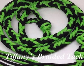 Over and Under Whip , whip, barrel racing, neon green horse tack, horse tack, paracord horse tack, gaming whip, barrel racing tack, quirt