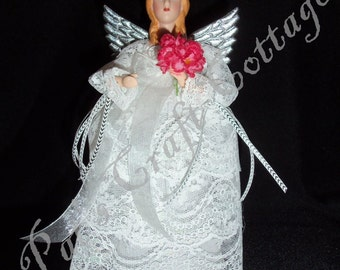 Purity Bride ~ 9 in Caketop/Treetop/Tabletop Angel by PFeignCottage