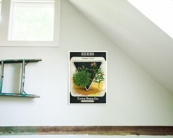 Vintage Herbs Seed Packet Birchwood Wall Art
