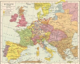 europe in 1519 political frontiers europe map antique home decor antique vintage prints old maps