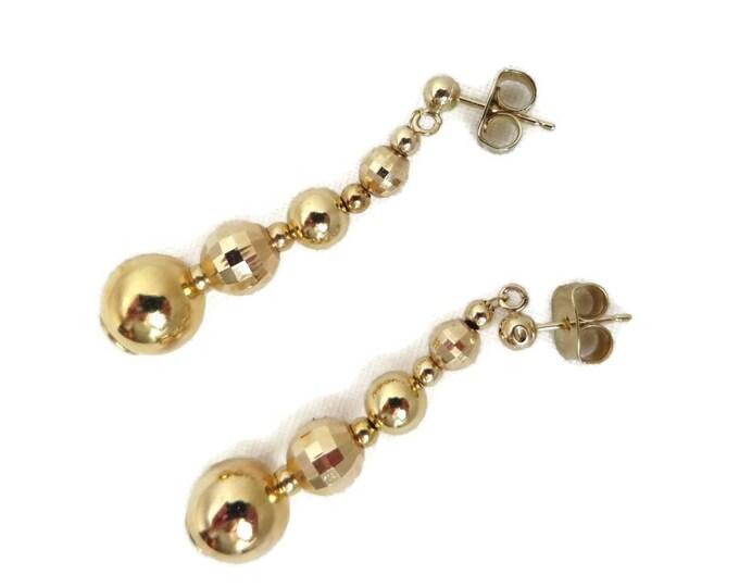 Dangling Gold Earrings, Gold Drop Earrings, Dainty Earrings, Statement Earrings, Gold Ball Earrings, Disco Earrings, Gifts