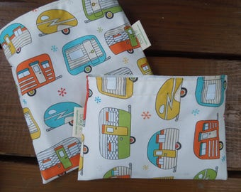 Reusable sandwich bags - Reusable snack bag - Fabric snack bag -  Eco friendly reusable bags -  Waste free lunch bags - Trailers - Campers