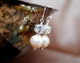 Bridal Pearl Earrings, Ivory Pearl Drop Earrings, Rhinestone Fireball Earrings, Bridal Jewelry, Swarovski Wedding Earrings